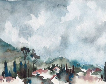 Florence watercolor, Florence art, Italy watercolor, Art Print, City watercolor - giclee print of an original watercolor (5.5 x 8.5 in)