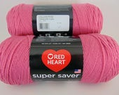 RESERVED>>>>>  Light Raspberry - Red Heart Super Saver raspberry yarn worsted weight 1060
