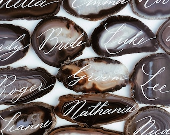Black agate slice hand written place cards / name cards