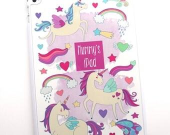 Unicorn ipad cover personalised rainbows hearts shooting stars