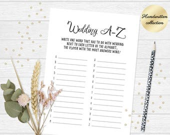 Tea party bridal shower game, Printable word game, Wedding a z game, Tea party game, Printable bridal shower game cards 5x7 Instant Download