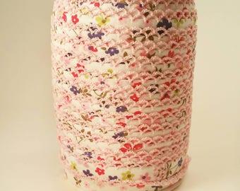 Picot Crochet Lace Edge Double Fold Bias Tape Binding Pink Trim Floral