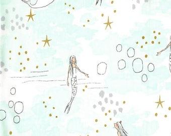 Sarah Jane Mermaid Fabric - Michael Miller Magic - Narwhal Fabric - Metallic Fabric - Mermaid Mist - Fabric by the Yard - Aqua Ocean Fabric