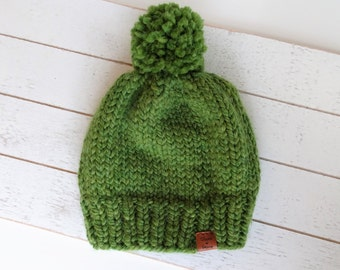 Knit Pom Toque, Grass, Green, Ready to Ship Size Toddler