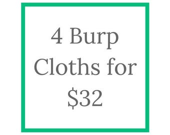 4 Burp Cloth Bundle, MIX and MATCH burps, Modern Burp Cloths, Baby Shower Gift