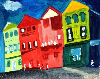 Original Art Print - Little Town - New Orleans Style Homes - Wall Art - Wall Decor
