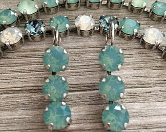 PACIFIC CALM - 8mm Swarovski Crystal Earrings - Green, Opal, Antique Silver