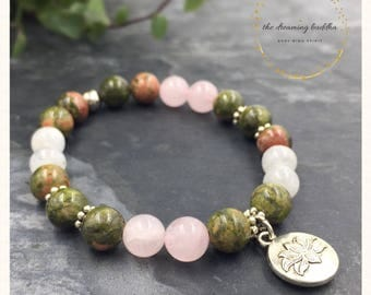 Healthy Pregnancy Birth Conception Bracelet Fertility Bracelet Unakite Moonstone Rose Quartz Yoga Bracelet Jewelry Gemstone Jewellery Gift