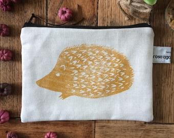 Hedgehog zipped pouch - handmade & hand printed