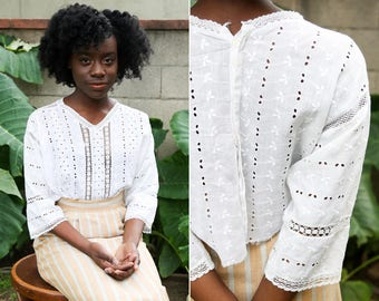 Edwardian Cropped Blouse/ Eyelet 1910's with lace detail