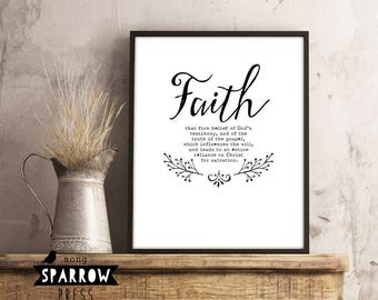Scripture Art, Scripture Wall Art, Faith Definition, Scripture Print, Typography Print, Bible Verse Art Print, Digital Download