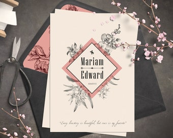 Wedding invitation | Vintage invitation | Botanic and retro look