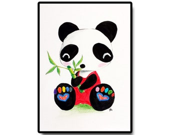"Panda Nursery Art, Nursery Wall Art, Baby Room Decor, Kids Room Art, Original Nursery Art, Panda and Bamboo, 5""x7"""