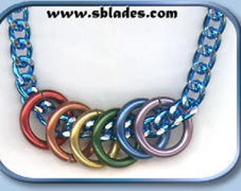 Mini-rings gay pride necklace, Rainbow rings pride necklace jewelry by Chainmail & More, LBGT neck chain jewelry