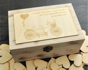 Elegant Wood Wedding Guest Book Box with 100 Hearts perfect for weddings Keepsake Box