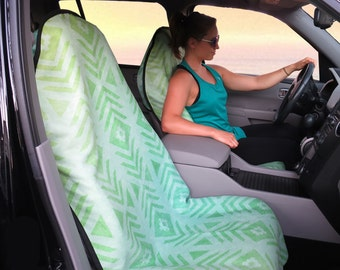 Seat Covers for Car for Vehicle, Aztec Tribal Green Seat Cover for Vehicle Front Seat, Car Accessories Seat Covers for auto, Protectors