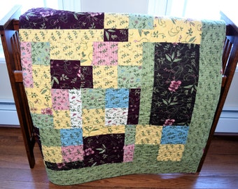 Lap Quilt, Large Throw Quilt, Moda,Country, Floral. wild flowers, green,yellow,brown,  Handmade