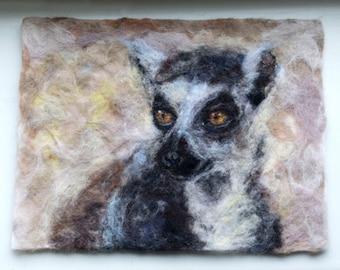 Felt art - ring tailed lemur