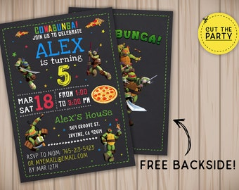 Teenage Mutant Ninja Turtles invitation, TMNT invitation, TMNT birthday invitation, TMNT chalkboard invitation