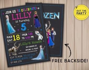 Frozen invitation, Frozen birthday invitation, Frozen chalkboard invitation, Frozen party invitation
