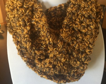 Super Soft and Ultra Warm Infinity Crochet Scarf Mustard and Gray