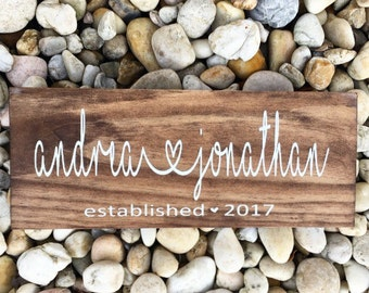 Rustic couples wood sign