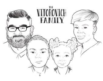 Custom Family Illustration, Custom Family Portrait, Digital Illustration, Illustration, Printable Art, Wall Art