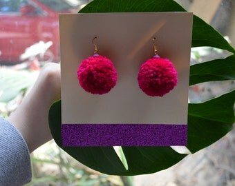 Large Cherry Pink Pom Pom Earrings