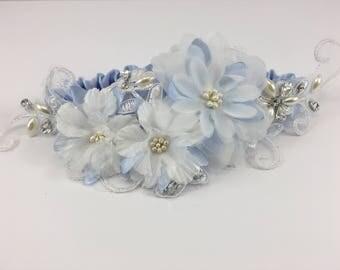 Blue Fleur, Wedding Garter, Blue Garter, Custom Garter, Bridal Garter, Satin Garter, Toss Garter, Garter Belt, Bridal Shower Gift, Bride
