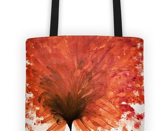 Tote bag original design - Orange bloom -