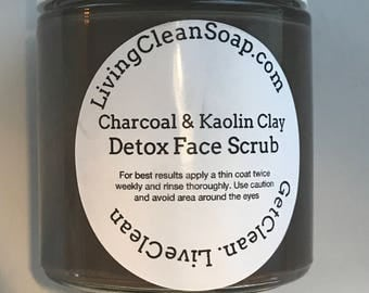 Detox Charcoal & Kaolin Clay Face Scrub     Natural Skin Care