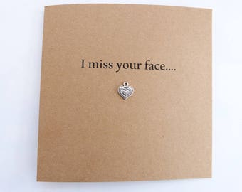 Missing you Card. I Miss your face Greeting Card. I Miss you Card. Thinking of you card. Boyfriend card. Girlfriend card. Friendship card.