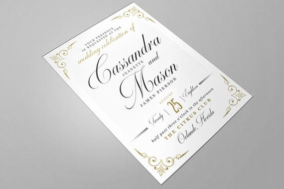 Wedding invitation word template vintage style black wedding invitation word template vintage style black gold editable colors stopboris Choice Image