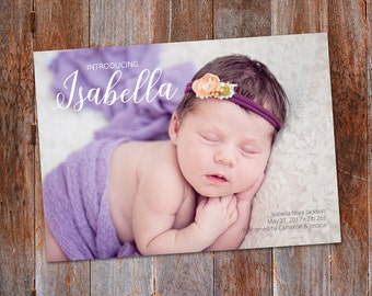 Baby Girl Birth Announcement, Custom Birth Announcement template, Baby Boy photo announcement, It's a girl, It's a boy New Baby Announcement