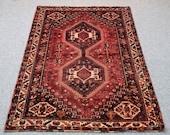 Shiraz persian rug, apple red, rose red,  oriental rug, vintage rug, housewarming carpet gift, loom rug, wool rug, living room rug