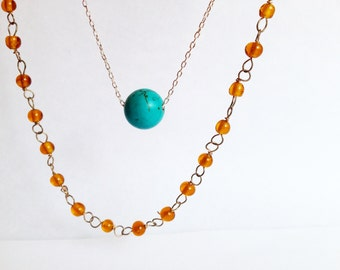 Bohemian Layered Necklace with Turquoise Accent and Wire Wrapped Beaded Chain
