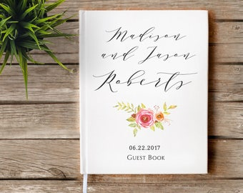 Pink Flower Floral Boho Wedding Guestbook, Summer wedding, Custom Guest Book, Personalized Guest Book