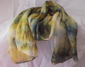 Hand Painted Silk Scarf in a brown 'marble' effect