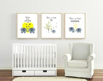 Elephant prints, elephant nursery decor, yellow and grey nursery, gender neutral nursery decor, nursery wall art, nursery decor, elephant