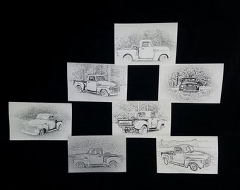 7 Beautiful 1953 Sketched look classic pickup truck greeting cards....