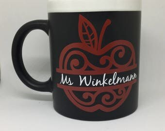Teacher Gift, Chalkboard Mug with Apple **no shipping, pickup only**