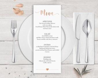 Rose Gold Menu Template, Rose Gold Wedding Menu Card Template, Rose Gold Calligraphy Wedding Menu, Copper Wedding Menu Printable