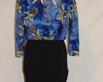 Vintage 1980's short midi dress -reworked