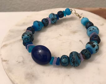 Blue Bliss with Round Blue Stone Bracelet 7 3/4 inches