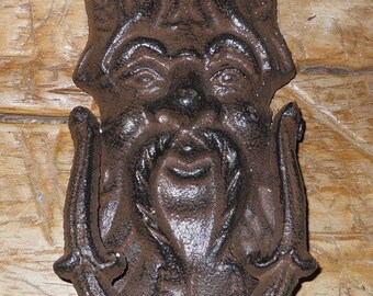 Cast Iron Antique Style GRIFFIN / GARGOYLE Door Knocker Brown Finish