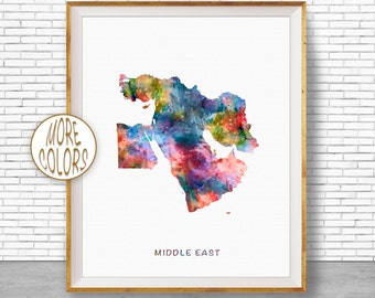 Middle East Art, Middle East Map, Middle East Print, Map Wall Art Print, Travel Map, Travel Decor, Office Decor, Office Wall Art