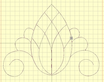 Machine embroidery applique 'Pineapple' for a quilt and AcuFil tool