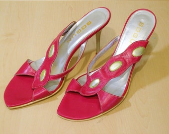 Vintage shoes pink shoes 40 size 10 US italian sandals high heel shoes open toe shoes summer italian shoes womens sandals leather shoes