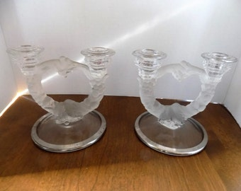 Vintage Glass Candle Holders (2)