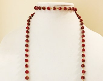 SALE 50% OFF Red Bead Chain Double Wrap